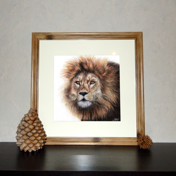 Jessy Megan print portrait animal Lion cadre
