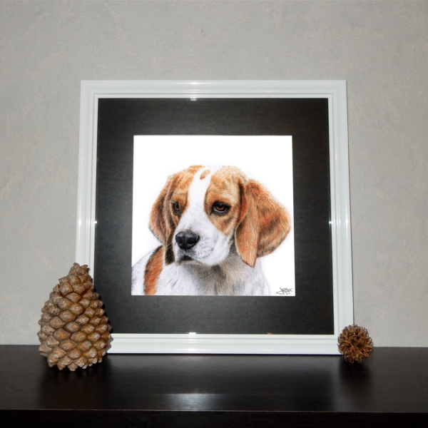 Jessy Megan print portrait animal Beagle cadre